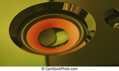 vibrer, lighting., bruyant, motion., noir, fin, haut., macro, haut, néon, orateur, lent, son, coloré, membranes