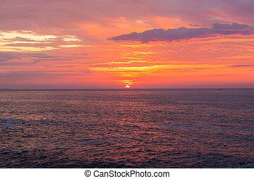 vibrerande, över, atlanten, soluppgång, ocean