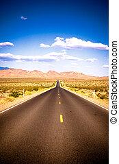 vibrerande, avbild, av, motorväg, och blåa, sky