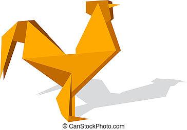 vibrerande, färger, origami, tupp