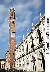 vicenza, italy., grand, carrée, de, ville, à, les, célèbre, monument, appelé, basilique, palladiana