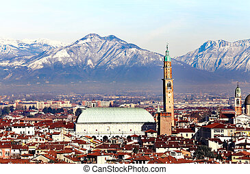 Vicenza, Italy, skyline of the city with Basilica Palladiana and Monte Summano in background