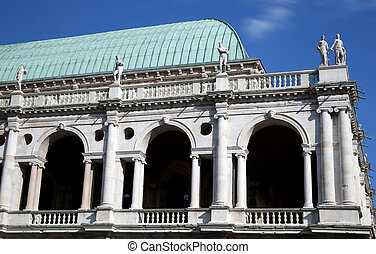 Vicenza, Italy. statues and roof detail of the Palladian...
