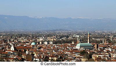vicenza, város, b betű, hegyek, olaszország, panoráma