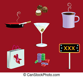 """Vices - Various """"vices"""" icons all grouped separately"""