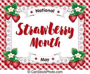 vichy, dentelle, fraise, mois, napperon, placer natte,...