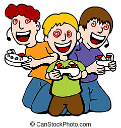 viciado, jogo, crianças, vídeo