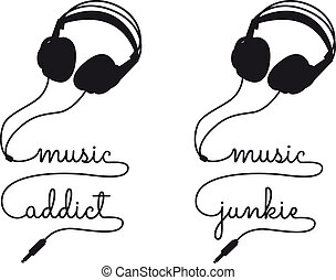 viciado, vetorial, música, fone