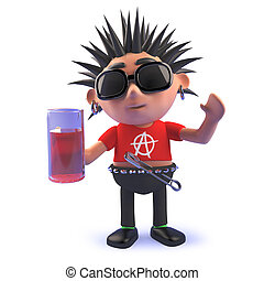 vicioso, eje de balancín del punk, pinta, caricatura, bebida, 3d, cervezadorada, carácter