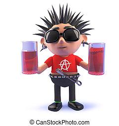 vicioso, punk, bebida, roca, tenencia, dos, caricatura, anteojos de 3d, carácter