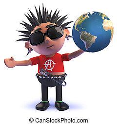 vicioso, punk, globo, roca, carácter, tenencia, caricatura, 3d, tierra