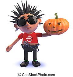 vicioso, roca del punk, tenencia, caricatura, 3d, halloween, calabaza, carácter