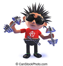 Vicious cartoon punk rocker character exercising with dumbell weights in 3d