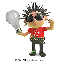 Vicious spiky punk rock character holding a lightbulb, 3d illustration render