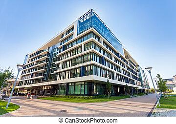 vicolo, con, moderno, costruzioni ufficio, in, budapest