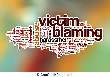Victim blaming word cloud with abstract background - Victim...