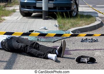 Victim of car crash - Horizontal view of male victim of car...