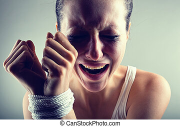 Victim - Woman victim of domestic violence and abuse