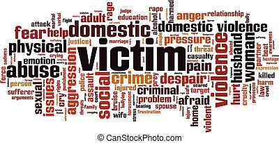 Victim word cloud concept. Vector illustration