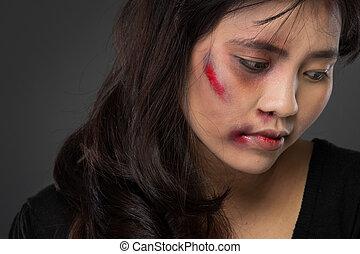 victime, femme, conjugal, asiatique, abus