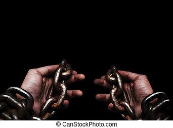 victime, self., concept, image., chaîne, gens, grand, mains, non, métal, attaché, esclave, avoir, liberté, prisonnier, mâle, lui