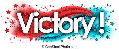 victoire, étoiles, mot, arrière-plan coloré