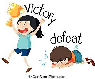 victoire, défaite, wordcard, opposé