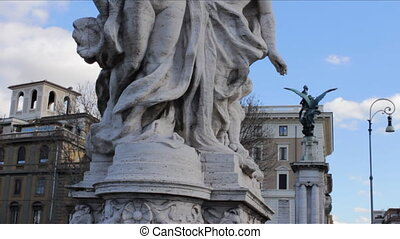 Victor Emmanuel II Bridge Sculpture with Tilt Up. Good video...