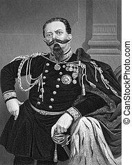 Victor Emmanuel II of Italy (1820-1878) on engraving from...