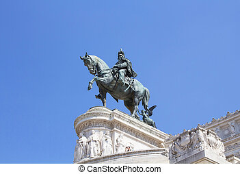 Victor Emmanuel II statue at Altar of the Fatherland in Rome. The Altare della Patria is a monument built in honor of the first king of a unified Italy.