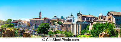 Victor Emmanuel monument - Ancient ruins of forum and Victor...