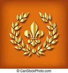 Victorain wreath - Illustration of gold victorian wreath.