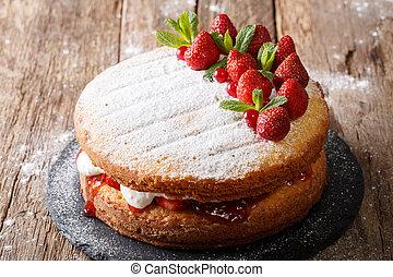 victoria 스펀지, 딸기, 케이크, 가정, 수평이다, 박하, 장식식의, closeup.