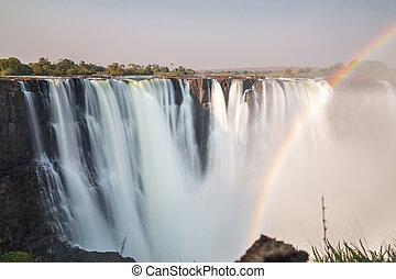 victoria, acqua, zimbabwe, cadute, seta, vista