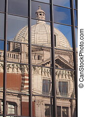 Victoria and Albert museum  reflected in Glass