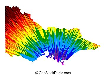 Victoria (Australian states and territories, Vic) map is designed rainbow abstract colorful pattern, Victoria (Australia) map made of color explosion,
