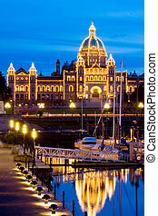 Victoria, BC - Parliament building at night