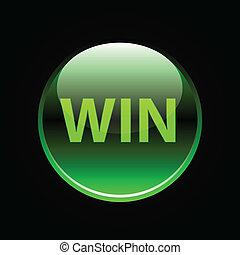victoria, botón, verde, brillante, señal