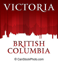 Victoria British Columbia Canada city skyline silhouette red...