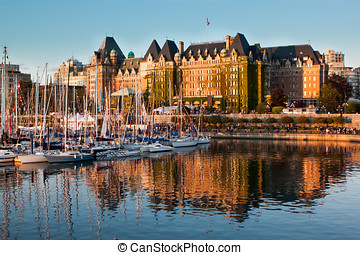 Victoria, British Columbia, Canada - A busy sunset in...