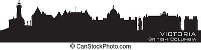 Victoria, Canada skyline. Detailed silhouette