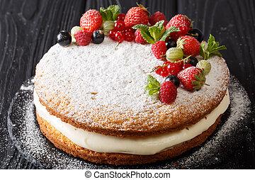 victoria, emparedado, pastel, adornado, con, fresco, verano,...