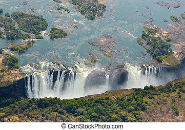 Victoria Falls Aerial View Zambezi River Zimbabwe Africa
