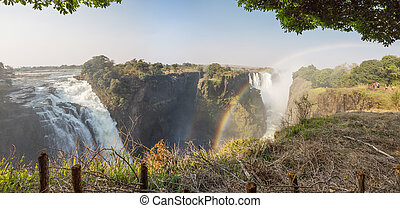 Victoria Falls and rainbow, Zimbabwe side