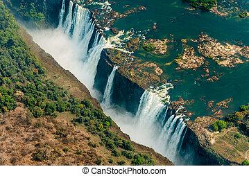 Victoria Falls at drought, aerial shot - Victoria Falls at...