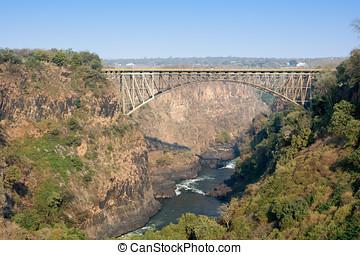 Victoria Falls Bridge crossing the Zambezi River