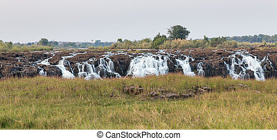 Victoria Falls panoramic view with zambezi river