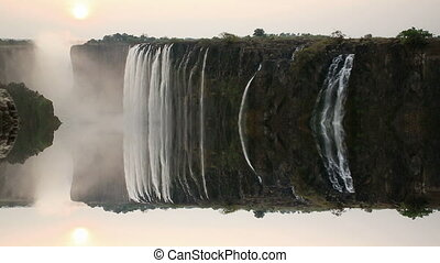 Victoria Falls sunset with unreal reflection - Victoria...