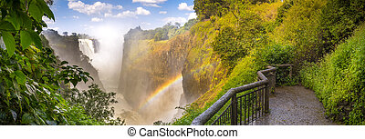 Victoria Falls waterfall in Africa, between Zambia and ...