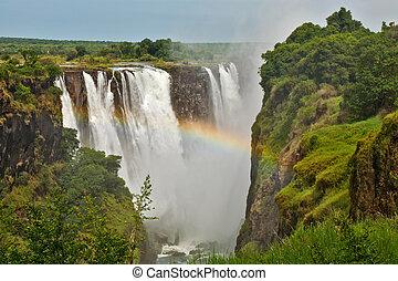 Victoria Falls, Zimbabwe, taken closeup with rainbow